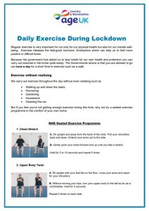 Daily exercise during lockdown